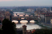 Bridges crossing the river Arno in Florence, Tuscany, Italy