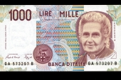 Maria Montessori - Thousand lire note from Italy